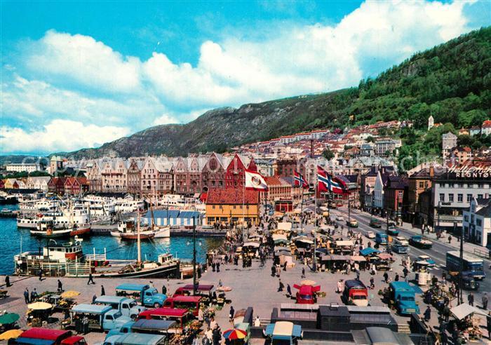 AK / Ansichtskarte Bergen_Norwegen Torget og Bryggen Bergen Norwegen