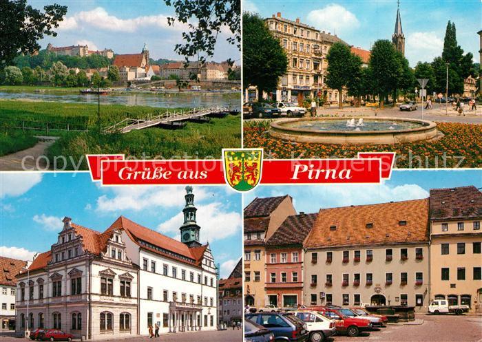 AK / Ansichtskarte Pirna Partie an der Elbe Marktplatz Springbrunnen Innenstadt Pirna
