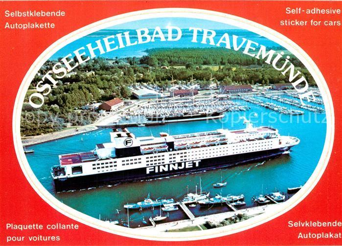 AK / Ansichtskarte Travemuende_Ostseebad Hafen Faehre Finnjet Segelschiff Fliegeraufnahme Selbstklebende Autoplakette Travemuende_Ostseebad