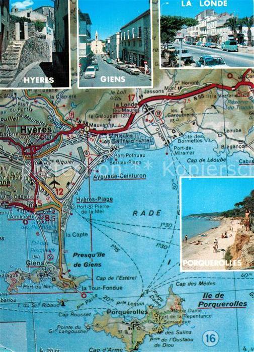 AK / Ansichtskarte Hyeres Giens La Londe Landkarte Hyeres