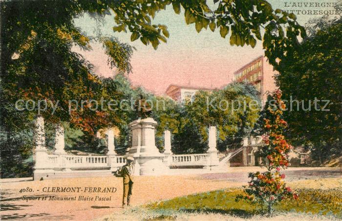 AK / Ansichtskarte Clermont_Ferrand_Puy_de_Dome Square Monument Blaise Pascal Kuenstlerkarte Clermont_Ferrand