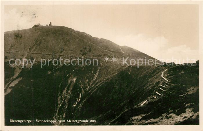 AK / Ansichtskarte Riesengebirge Schneekoppe vom Melzergrund Riesengebirge