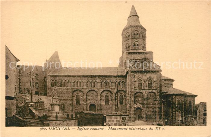 AK / Ansichtskarte Orcival Eglise romane Monument historique du XI Orcival