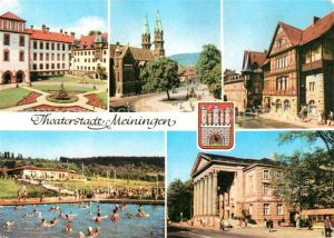 AK / Ansichtskarte Meiningen_Thueringen Schloss Schwimmbad Stadtkirche Theater Henneberger Haus  Meiningen Thueringen