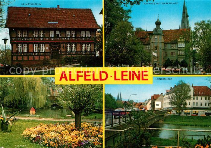 AK / Ansichtskarte Alfeld_Leine Heimatmuseum Rathaus Marktplatz Anlagen Leinebruecke Alfeld_Leine
