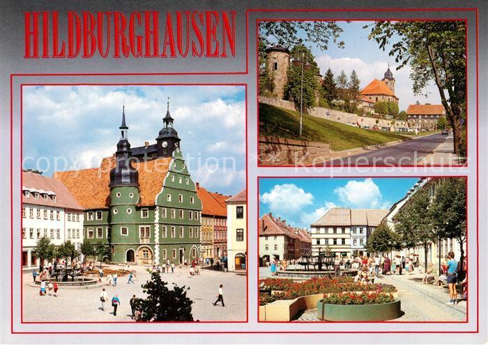 AK / Ansichtskarte Hildburghausen Rathaus Stadtmauer Christuskirche Marktplatz Hildburghausen