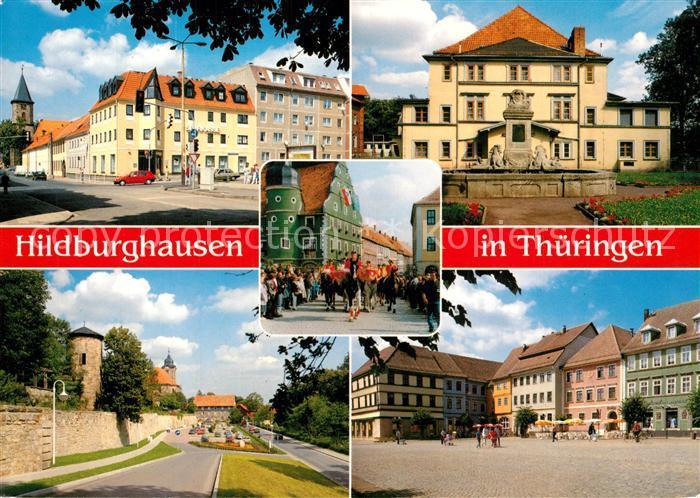 AK / Ansichtskarte Hildburghausen Apostelkirche Stadttheater Theresienfest Stadtmauer Marktplatz Hildburghausen
