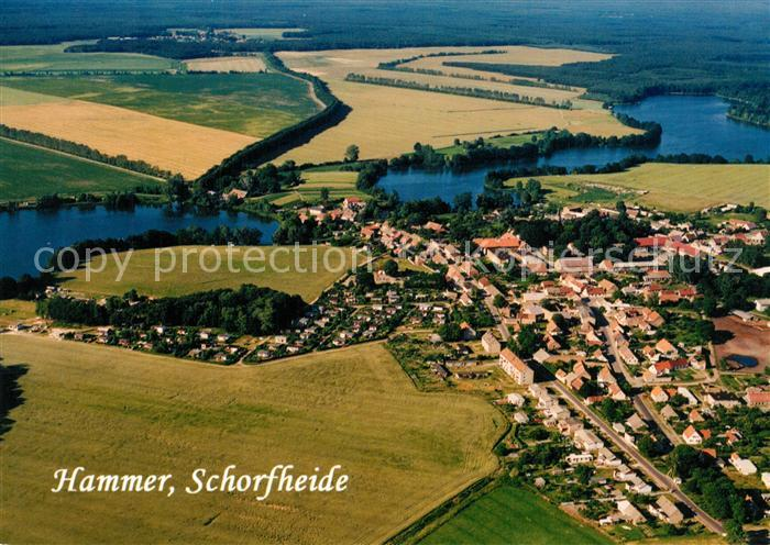 AK / Ansichtskarte Schorfheide Fliegeraufnahme Hammer Wutzsee Kuhpanzsee Schorfheide