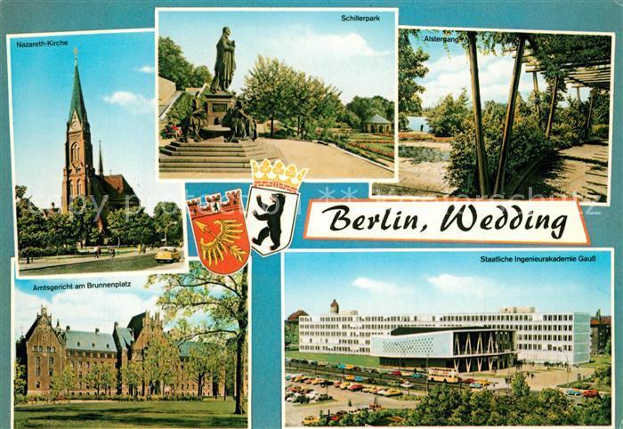 AK / Ansichtskarte Berlin Wedding Nazareth Kirche Schillerpark Alstergang Amtsgericht Brunnenplatz Berlin Wedding