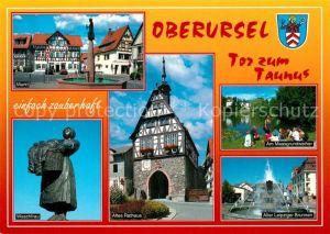 AK / Ansichtskarte Oberursel_Taunus Markt Waschfrau Altes Rathaus Maasgrundweiher Oberursel Taunus