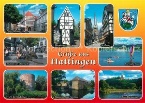 AK / Ansichtskarte Hattingen_Ruhr Altes Rathaus Buegeleisen St Georg Kemnader See Turm der Stadtmauer Wasserschloss Kemnade Burg Blankenstein Hattingen Ruhr