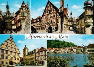 AK / Ansichtskarte Marktbreit Fachwerkhaeuser Rathaus Mainpartie Marktbreit