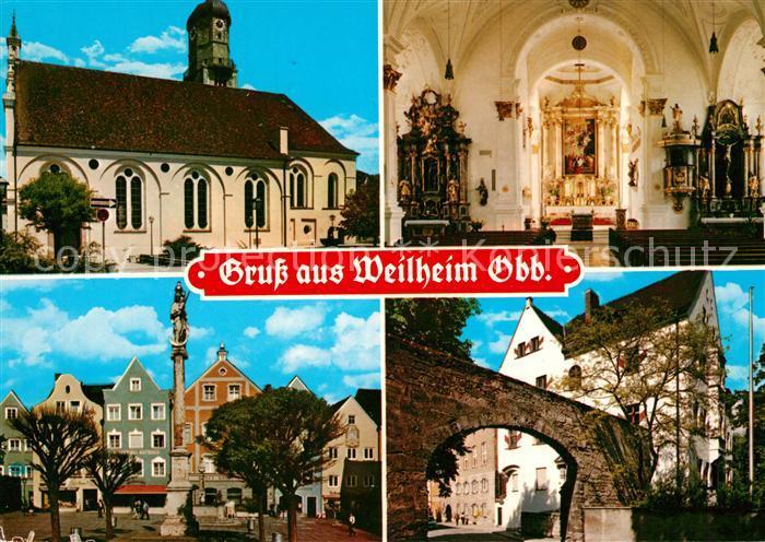 AK / Ansichtskarte Weilheim_Oberbayern Kirche Inners Marktplatz Alte Stadtmauer  Marktplatz Portal Weilheim Oberbayern