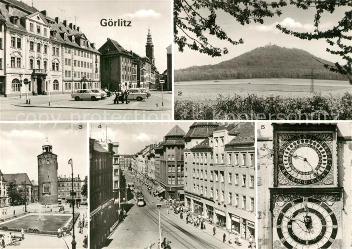 AK / Ansichtskarte Goerlitz_Sachsen Leninplatz Landeskrone Marienplatz Dicker Turm Berliner Strasse Rathausuhren Goerlitz Sachsen