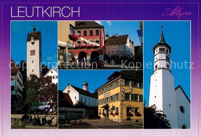 AK / Ansichtskarte Leutkirch_Allgaeu Turm Rathaus Marktplatz Kirche