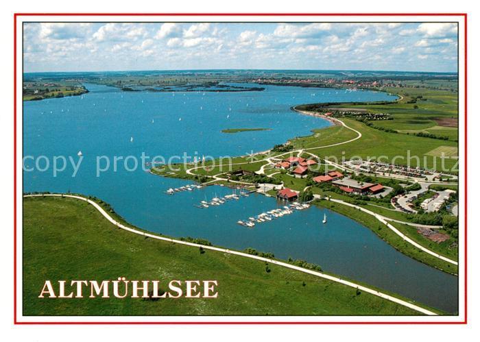 AK / Ansichtskarte Gunzenhausen_Altmuehlsee Fliegeraufnahme mit Sportboothafen und Vogelinsel Gunzenhausen Altmuehlsee