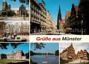 AK / Ansichtskarte Muenster_Westfalen St Paulus Dom Lambertusbrunnen Schloss Aasee Prinzipalmarkt Am Kiepenkerl Muenster_Westfalen