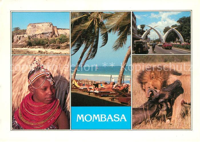 AK / Ansichtskarte Mombasa Ruine Kind Badestrand Palmen Strassenpartie Giant Tusks Steppe Wildnis Loewe bei der Jagd Mombasa