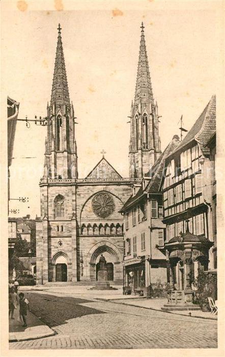 AK / Ansichtskarte Obernai_Bas_Rhin Eglise et le vieux puits Obernai_Bas_Rhin