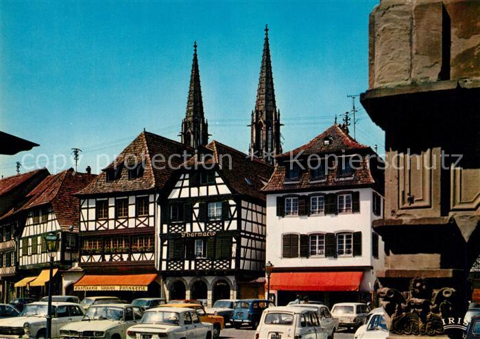 AK / Ansichtskarte Obernai_Bas_Rhin Place du Marche Marktplatz Fachwerkhaeuser Altstadt Obernai_Bas_Rhin