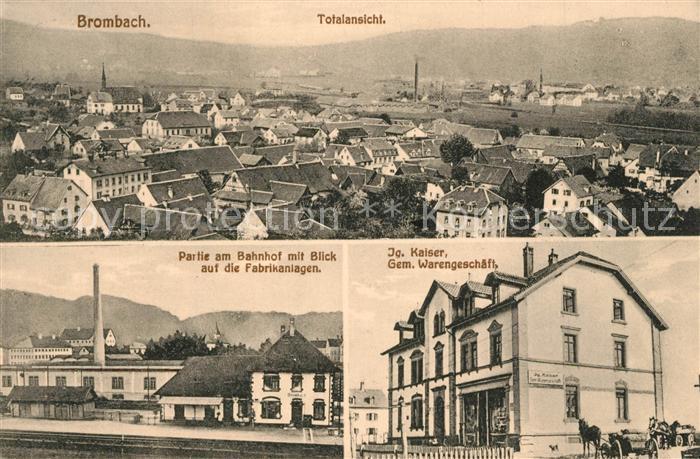 AK / Ansichtskarte Brombach_Loerrach Bahnhof Fabrikanlagen Ig. Kaiser Gem. Warengeschaeft Brombach Loerrach