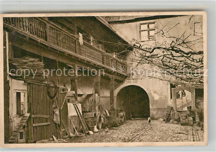 AK / Ansichtskarte Tuerkheim_Elsass Hof des Gasthauses zum Wilden Mann Tuerkheim Elsass