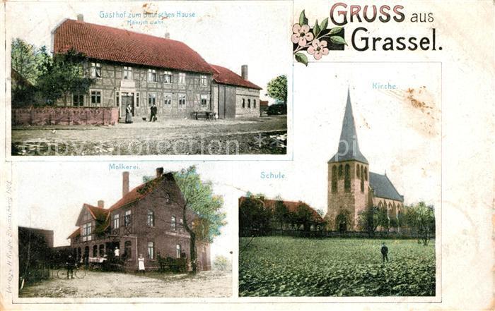 AK / Ansichtskarte Grassel Kirche Molkerei Gasthof zum deutschen Hause Grassel