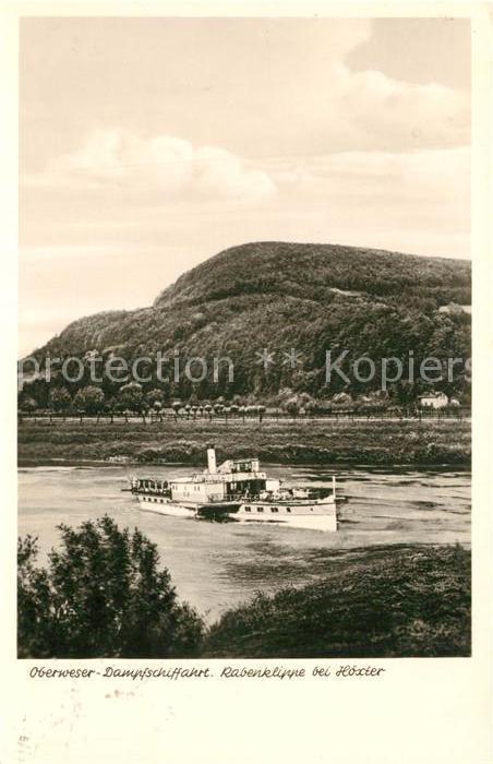 AK / Ansichtskarte Hoexter_Weser Rabenklippe mit Dampfschiff Hoexter Weser