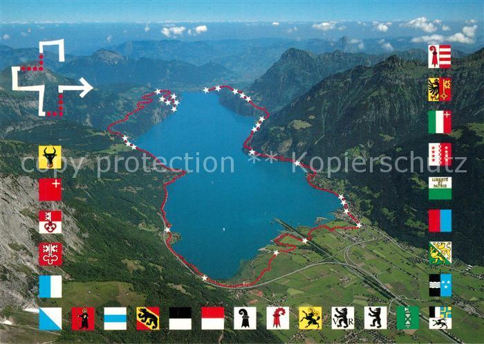 AK / Ansichtskarte Wappen Weg der Schweiz Fliegeraufnahme Wappen