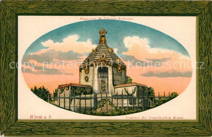 AK / Ansichtskarte Woerth_Sauer Monument de l Armee francaise Denkmal der franzoesischen Armee Litho Bilderrahmen Woerth Sauer