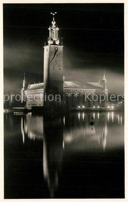 AK / Ansichtskarte Stockholm Stadthaus bei Nacht Stockholm