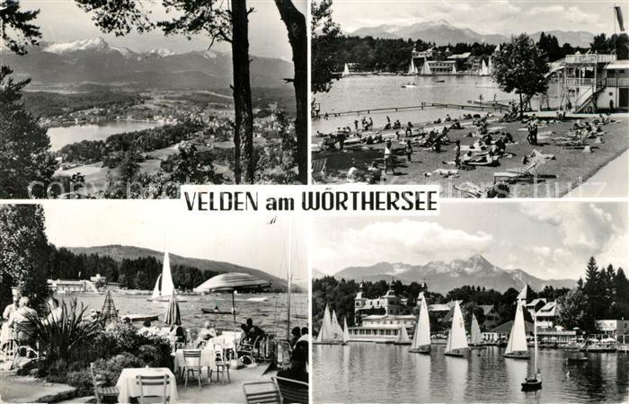 AK / Ansichtskarte Velden_Woerthersee Strand Segelboote  Velden Woerthersee
