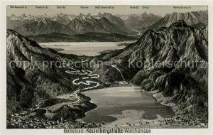AK / Ansichtskarte Walchensee Kochelsee Alpen Panoramakarte Walchensee