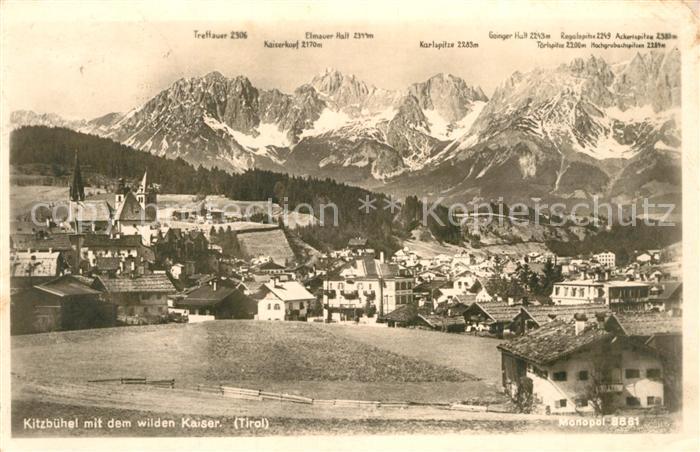 AK / Ansichtskarte Kitzbuehel_Tirol Gesamtansicht mit Wildem Kaiser Kaisergebirge Kitzbuehel Tirol