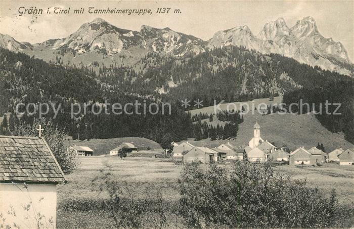 AK / Ansichtskarte Graen_Tirol Ortsansicht mit Kirche Tannheimertal Tannheimer Berge Graen_Tirol