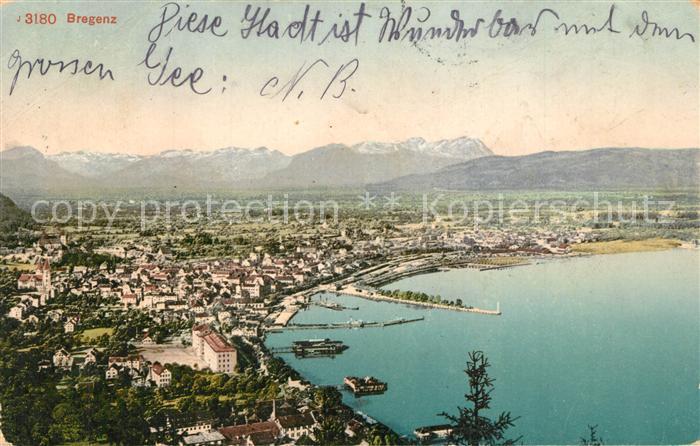 AK / Ansichtskarte Bregenz_Bodensee Panorama Alpenblick Bregenz Bodensee