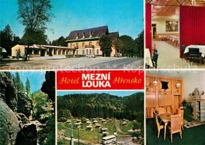 AK / Ansichtskarte Hrensko Hotel Mezni louka Jidelna Partie z Tiche soutesky Chatovy tabor Klubovna Hrensko
