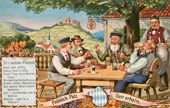 AK / Ansichtskarte Wein D r echte Paelzer  Wein