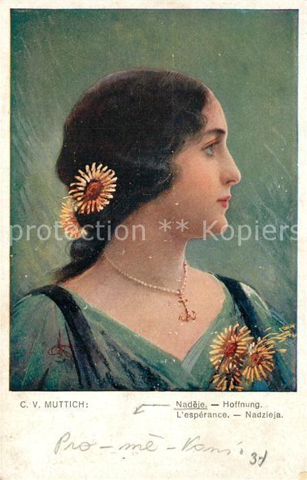AK / Ansichtskarte Kuenstlerkarte C. V. Muttich Nadeje Hoffnung  Kuenstlerkarte