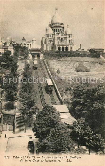 AK / Ansichtskarte Zahnradbahn Paris Funiculaire Basilique Sacre Coeur Montmartre Zahnradbahn