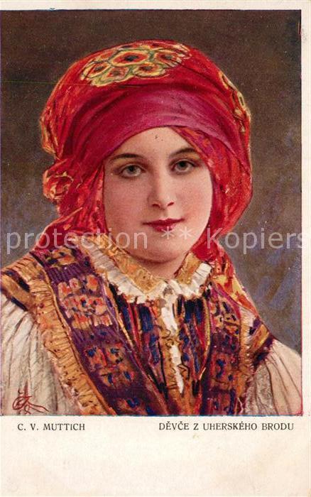 AK / Ansichtskarte Kuenstlerkarte C. V. Muttich Devce z Uherskeho Brodu Kuenstlerkarte
