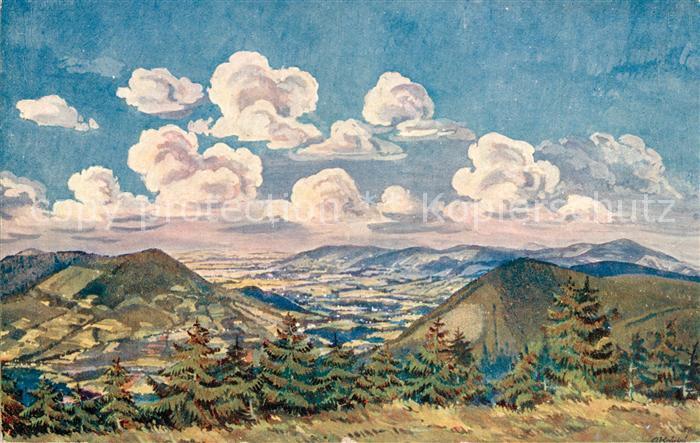 AK / Ansichtskarte Kuenstlerkarte A. Kratky Pohled s Radhoste  Kuenstlerkarte