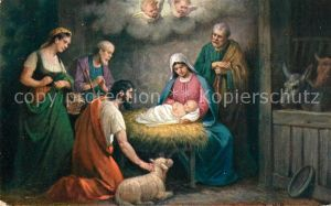 AK / Ansichtskarte Weihnachten Christkind Engel Lamm Heilige Familie  Weihnachten