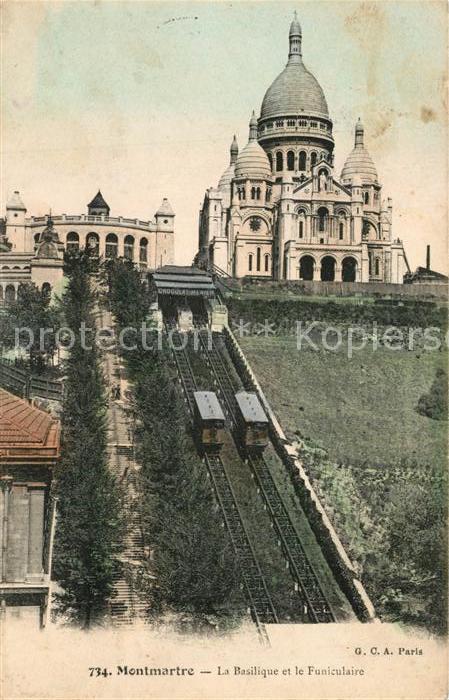 AK / Ansichtskarte Zahnradbahn Montmartre Basilique Funiculaire  Zahnradbahn