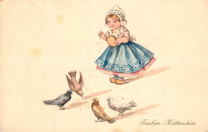 AK / Ansichtskarte Tauben Kind Tracht Holland Litho Tauben