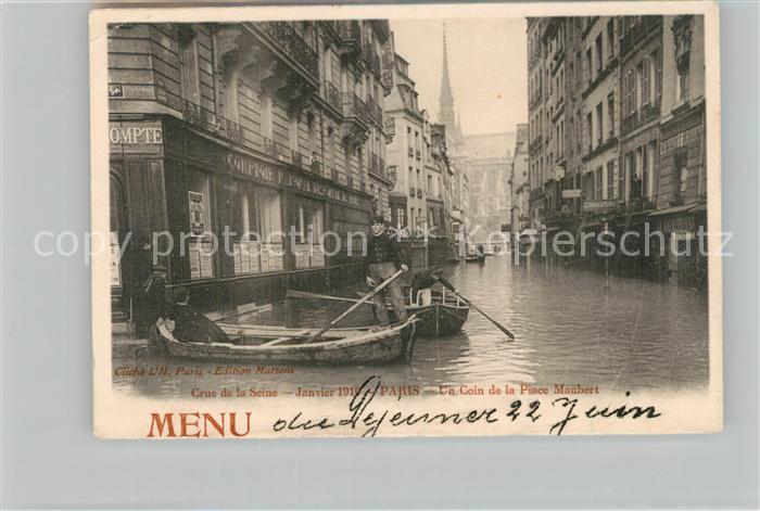 AK / Ansichtskarte Paris Crue de la Seine Un Coin de la Place Maubert Paris