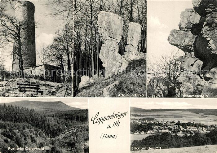 AK / Ansichtskarte Coppenbruegge Aussichtsturm Adam und Eva Felsen Moenchenstein Osterwald Coppenbruegge