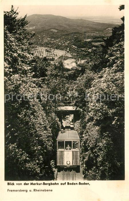 AK / Ansichtskarte Bergbahn Merkur Bergbahn Baden Baden Fremersberg  Bergbahn