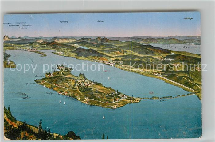 Insel Reichenau Karte.Ak Ansichtskarte Insel Reichenau Mit Gnadensee Und Zellersee Aus Der Vogelperspektive Insel Reichenau