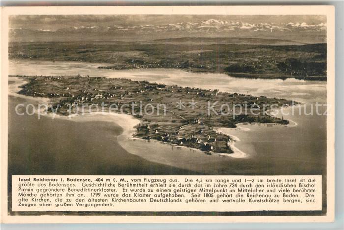 Insel Reichenau Karte.Ak Ansichtskarte Insel Reichenau Fliegeraufnahme Kosmos Chronik Karte Insel Reichenau